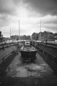 Working Dry Dock B&W Photography