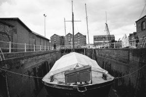 Dry Dock Vessel B&W Photography